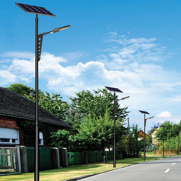 户外太阳能_LED路灯_常规路灯杆双头路灯