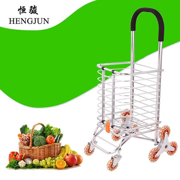 铝合金购物车可折叠两用型手拉车老人便携超市买菜车推车