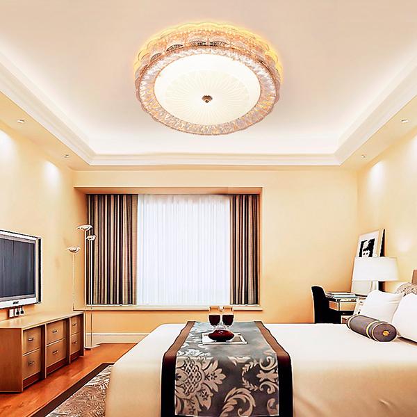 欧式简约led吸顶灯水晶玻璃浪漫卧室客厅书房吸顶灯