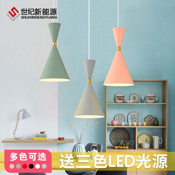 北欧灯具创意个性马卡龙现代简约三头餐桌灯_客厅吊灯