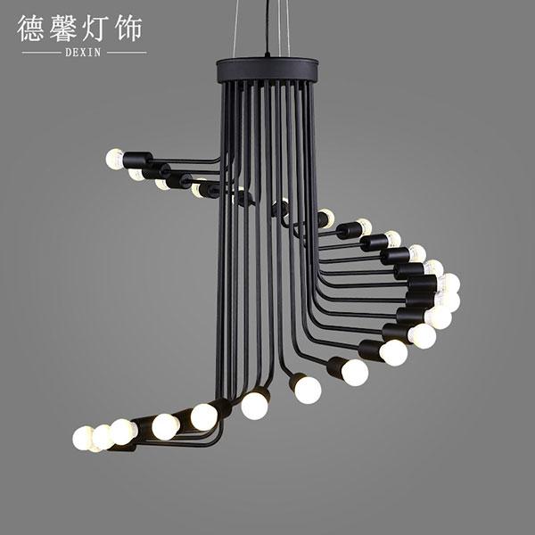 美式复古创意个性灯具螺旋状咖啡厅餐厅灯_铁艺吊灯