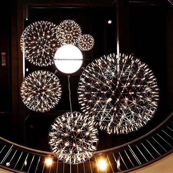 工业风灯具_现代创意个性小满天星火花球吊灯