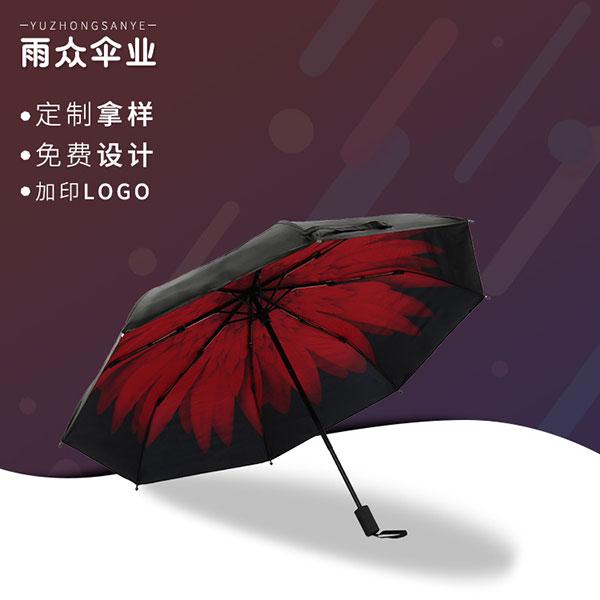 三折小黑伞,大红菊印花广告太阳伞