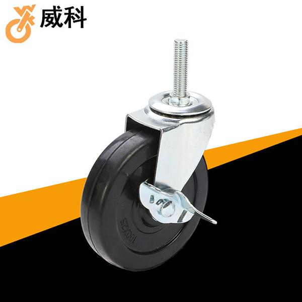 丝杆万向轮实心橡胶轮机械要用轻型橡胶轮带刹车_中山脚轮