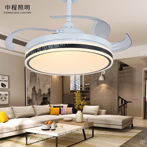客厅现代简约隐形带风扇电扇吊灯,后现代吊灯厂家