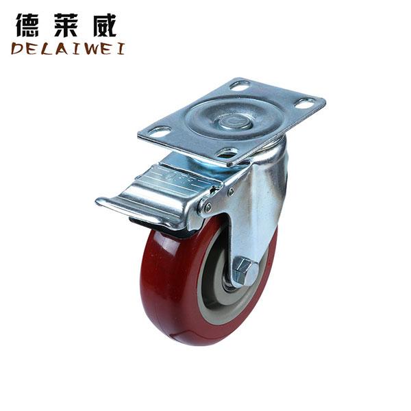 枣红双轴动轮中型工业定向万向刹车静音脚轮,中山脚轮
