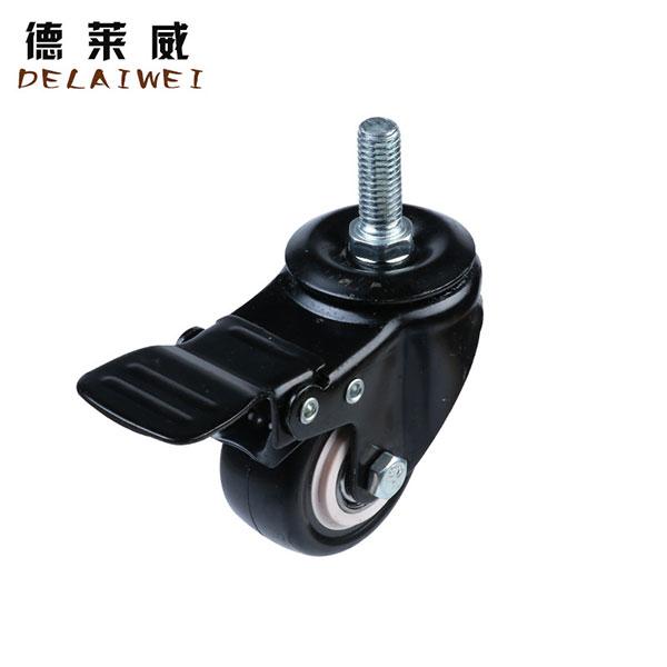 黑金钻工业万向脚轮螺丝杆刹车金钻轮,中山脚轮