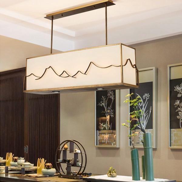 新中式禅意山水吊灯酒店餐厅吧台前台家居布罩吊灯
