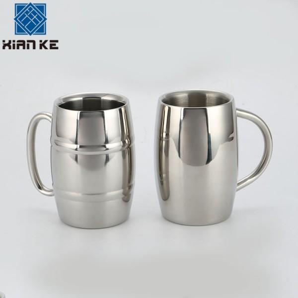 大容量圆形不锈钢啤酒杯茶水饮料果汁杯子,不锈钢调酒器