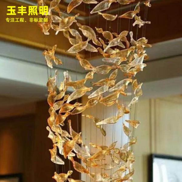 大型酒店大堂玻璃吊灯宾馆创意水晶造型非标工程灯