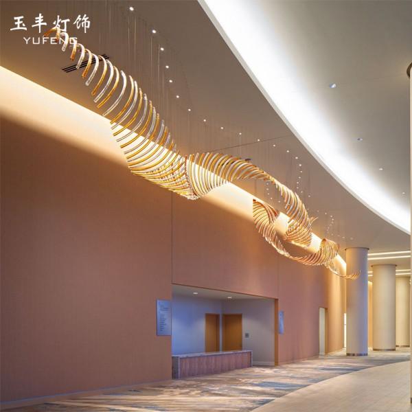 会所大厅艺术灯ktv大厅玻璃弯管吊灯,中山吊灯