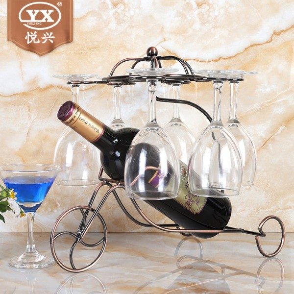 铁艺小战车葡萄酒架 时尚创意欧式红酒杯架