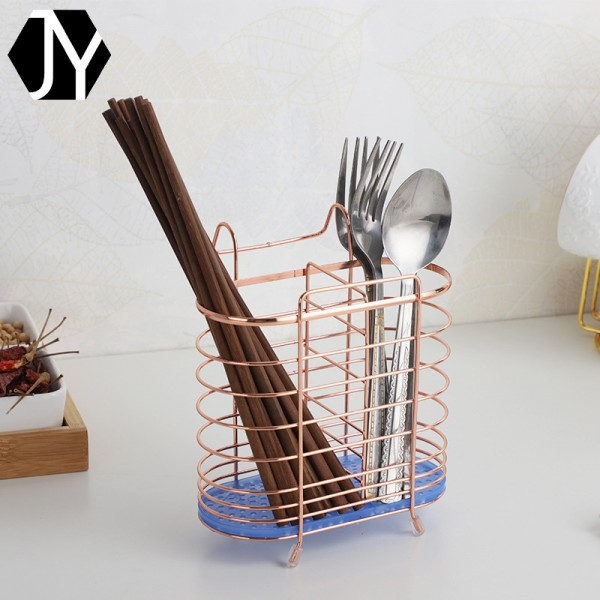 简约椭圆形玫瑰金沥水筷子厨房铁艺置物架