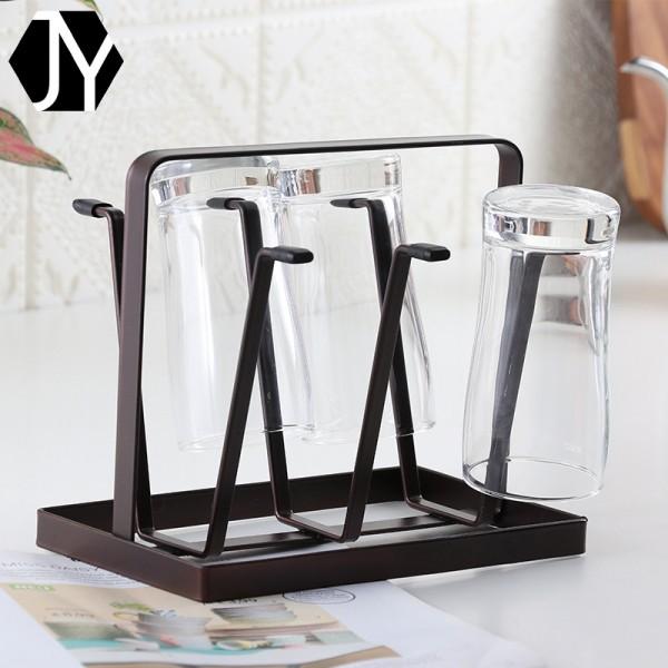 日式扁铁沥水杯架玻璃水杯马克沥水杯