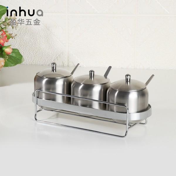 不锈钢调味罐套装 家用厨房调料罐创意调味盒三件套装