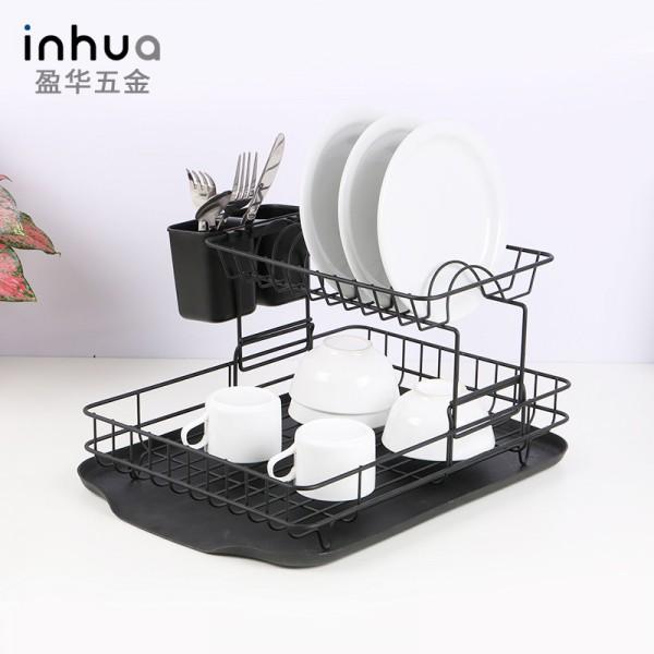 黑色双层碗筷沥水置物架水槽架