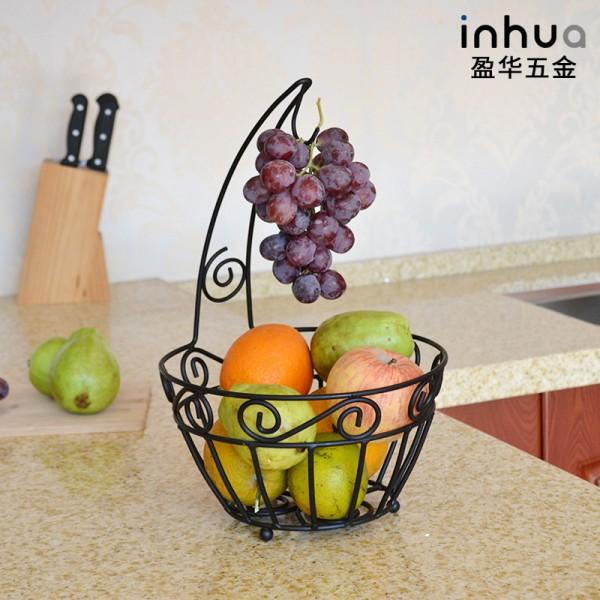 不锈钢镂空黑色水果置物篮子