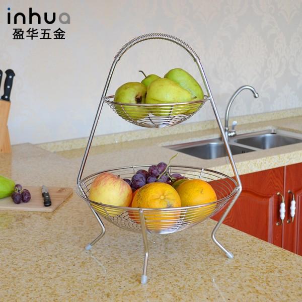 不锈钢双层创意家居果篮厨房篮置物篮收纳篮