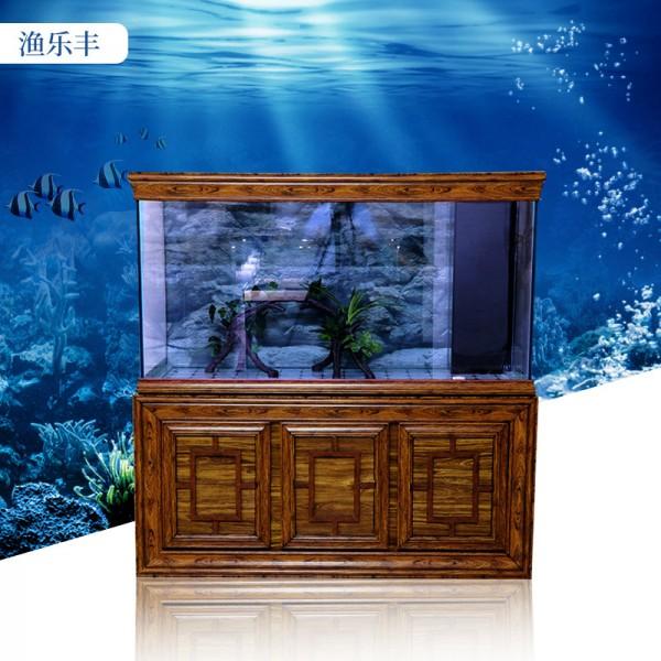复古木纹水族箱底滤鱼缸玻璃客厅家用屏风中式鱼缸
