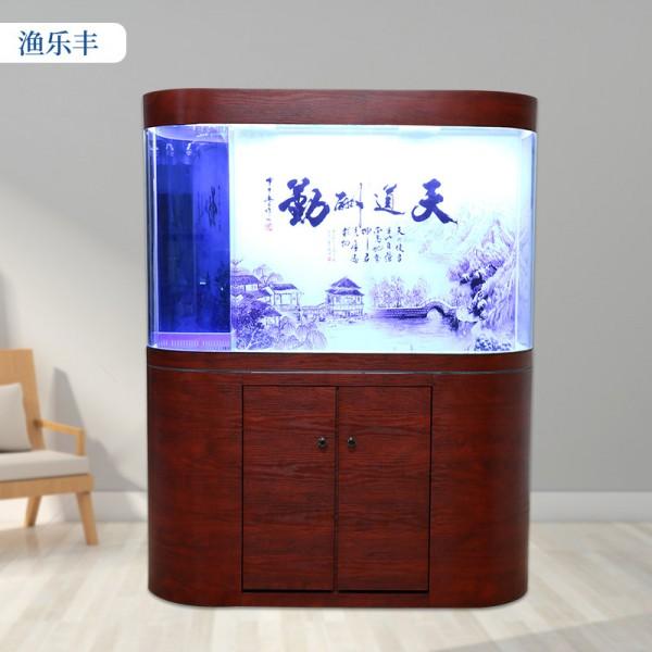 双圆弧生态鱼缸水族箱家用客厅底滤高清浮法玻璃鱼缸
