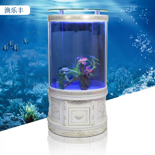 欧式半圆形鱼缸客厅底柜玻璃