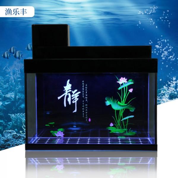 黑色地缸客厅上过滤方形玻璃生态鱼缸