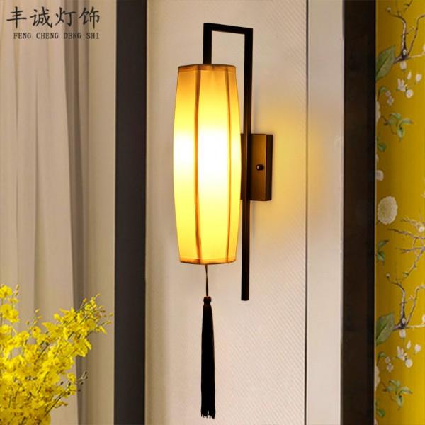 创意电视背景墙床头中式布艺壁灯-中山壁灯