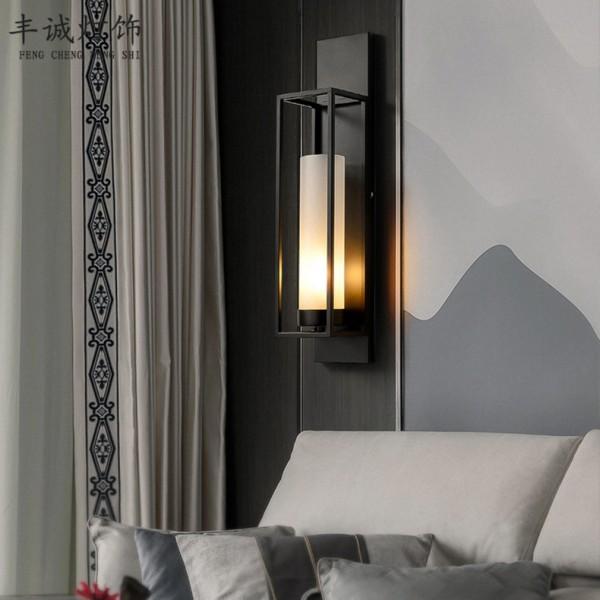 新中式壁灯批发玻璃客厅led背景墙壁灯