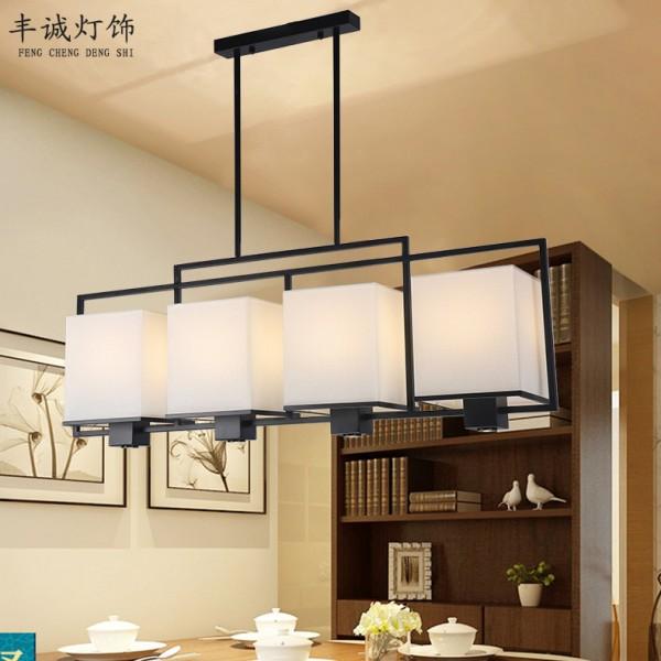 禅意吧台书房灯具现代饭桌吊灯长方形